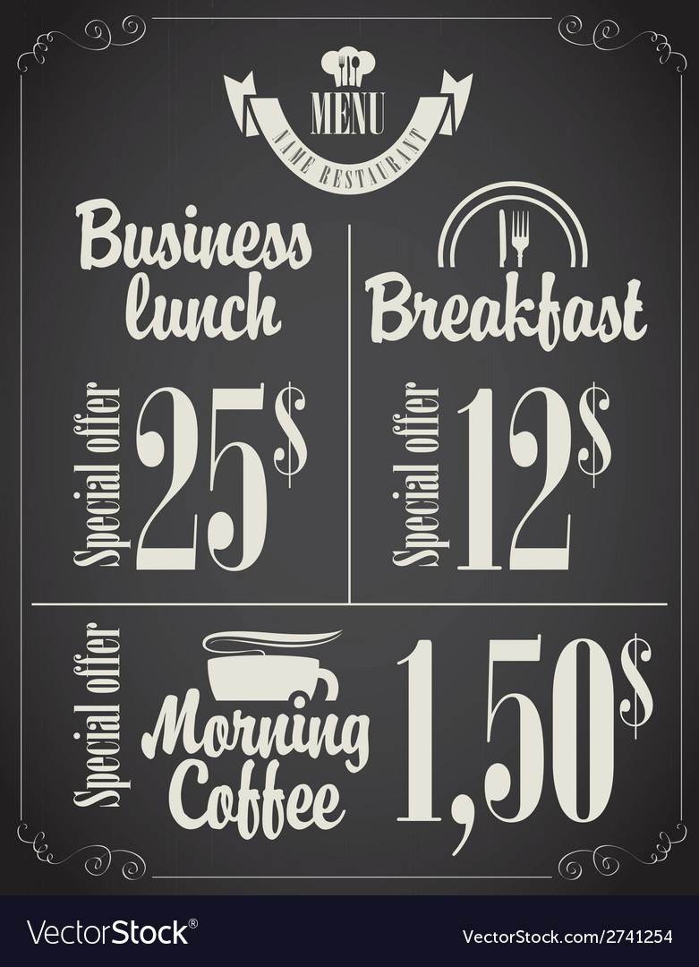 Business lunch menu vector | Price: 1 Credit (USD $1)