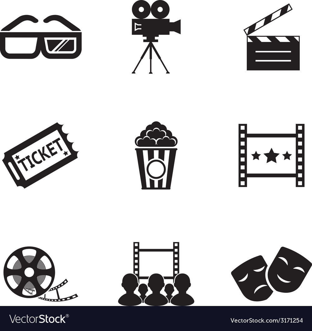 Cinema and movie icon set modern trendy silhouette vector | Price: 1 Credit (USD $1)