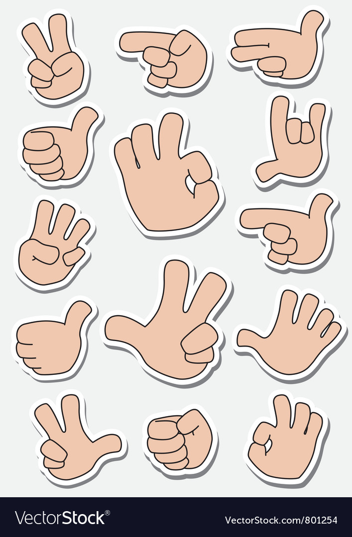 Collection of sticker gestures vector | Price: 1 Credit (USD $1)