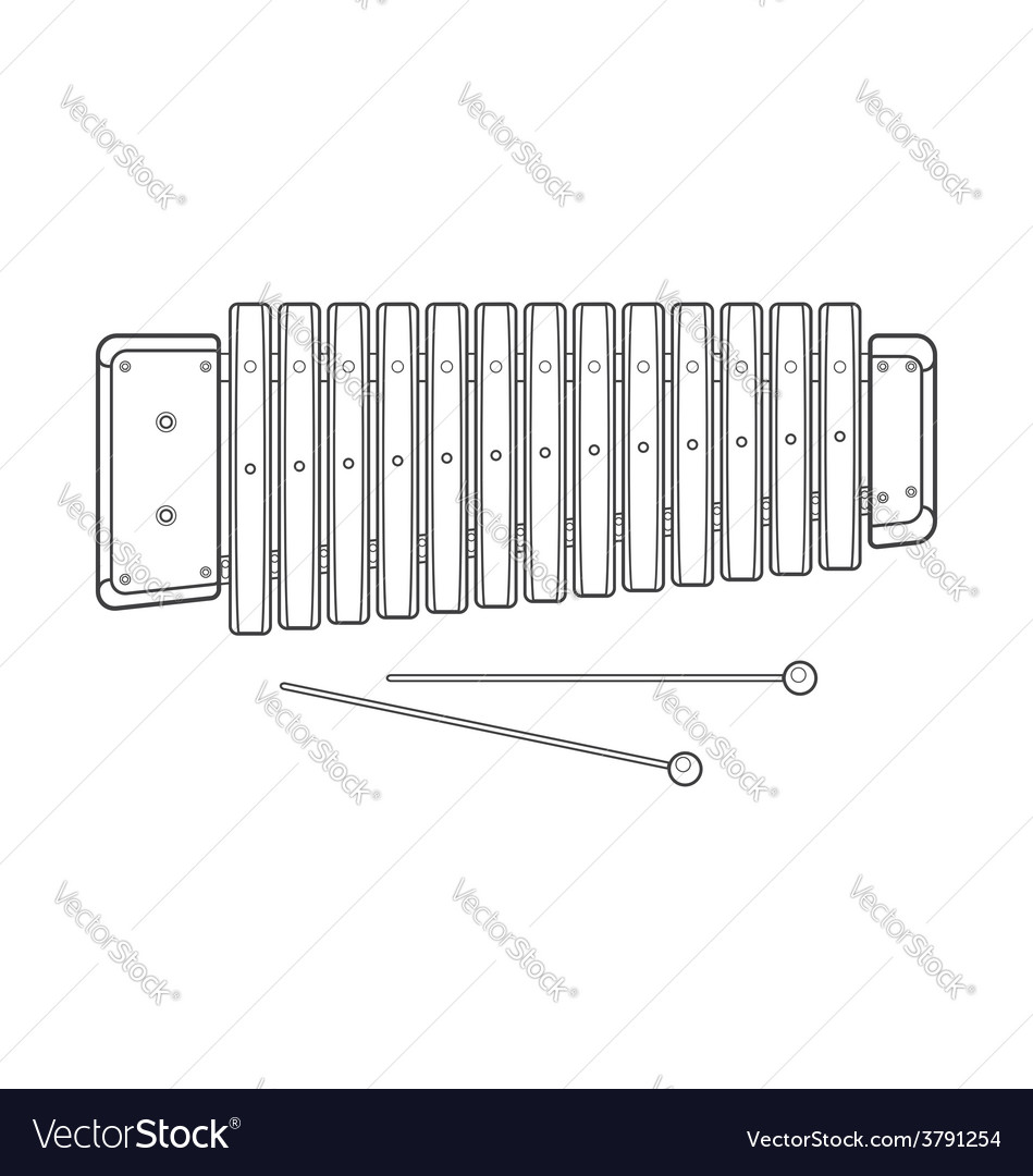 Dark contour wood xylophone vector | Price: 1 Credit (USD $1)