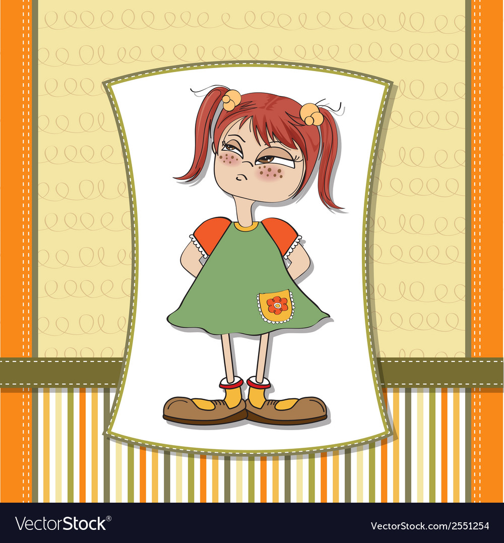 Funny young girl amused and distrustful vector | Price: 1 Credit (USD $1)