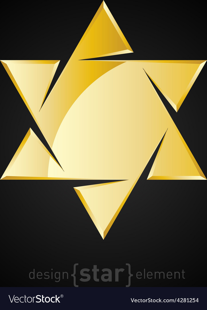 Golden star of david on black background vector | Price: 1 Credit (USD $1)