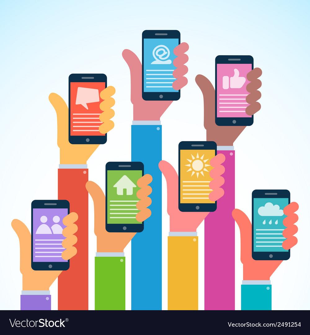 Hands with modern smartphones - flat design vector | Price: 1 Credit (USD $1)
