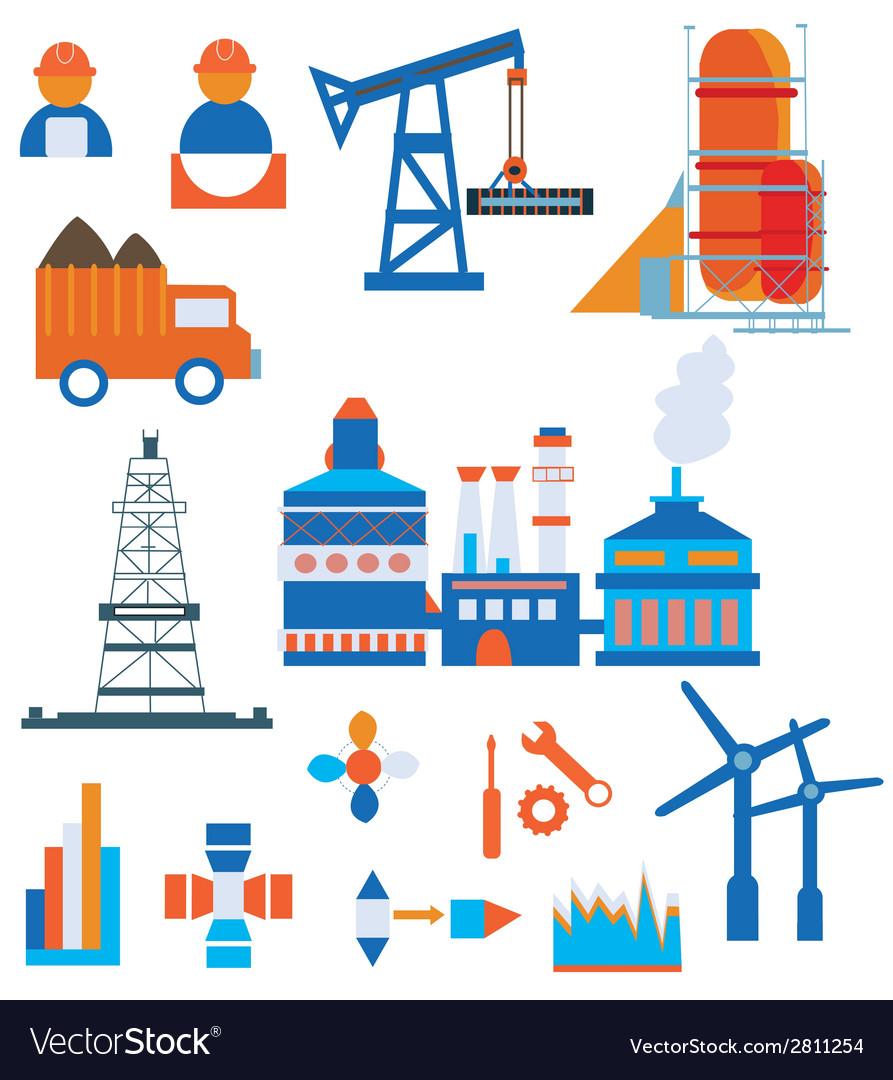 Industry icons for factory and workers vector | Price: 1 Credit (USD $1)