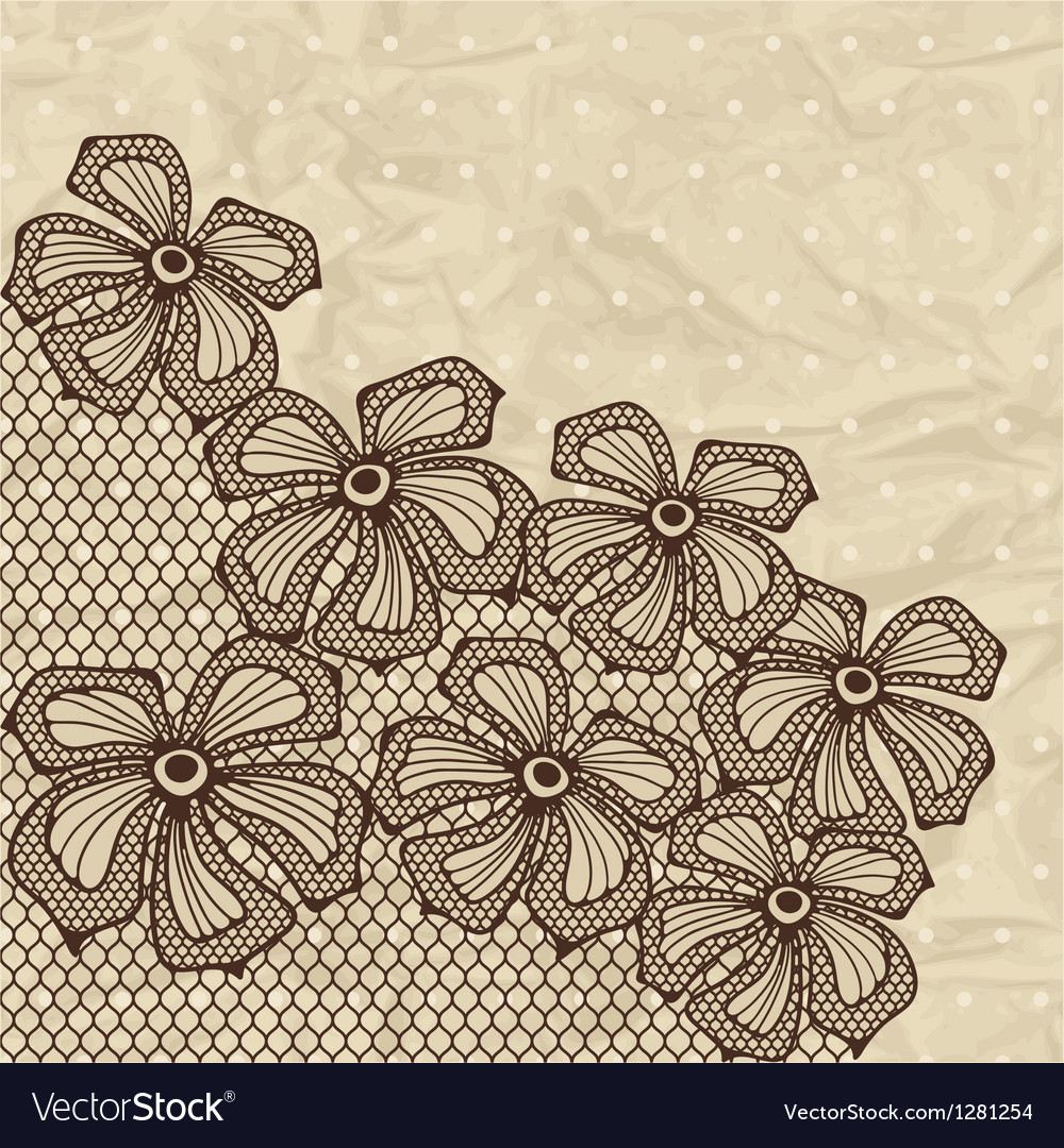 Old lace background ornamental flowers vector | Price: 1 Credit (USD $1)