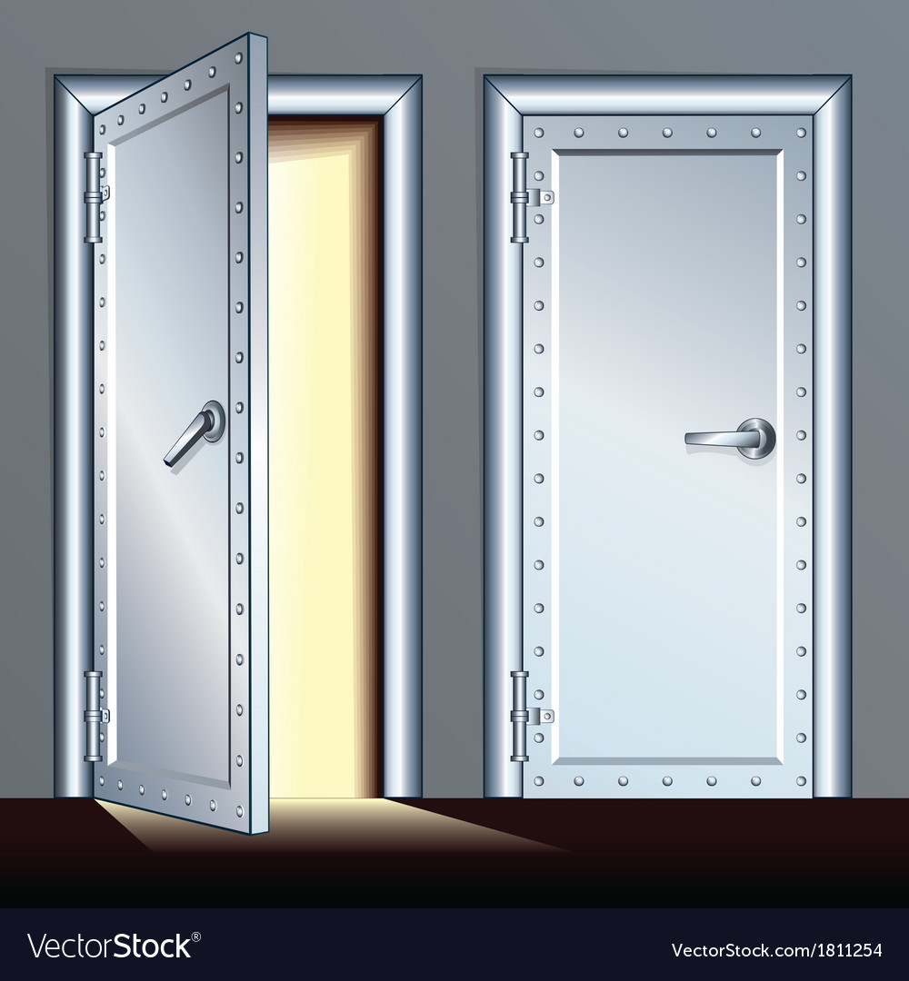Opened and closed vault door vector | Price: 1 Credit (USD $1)