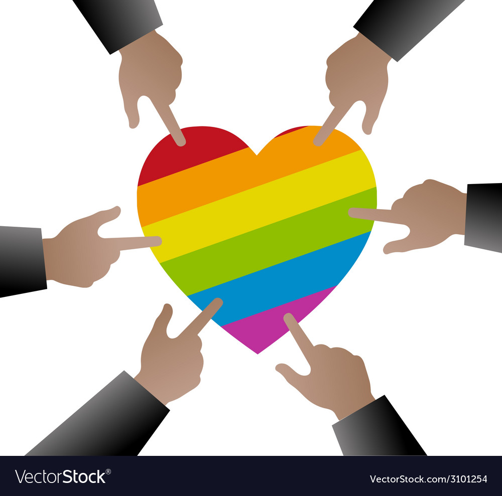People hands used to point the gay flag on heart vector | Price: 1 Credit (USD $1)