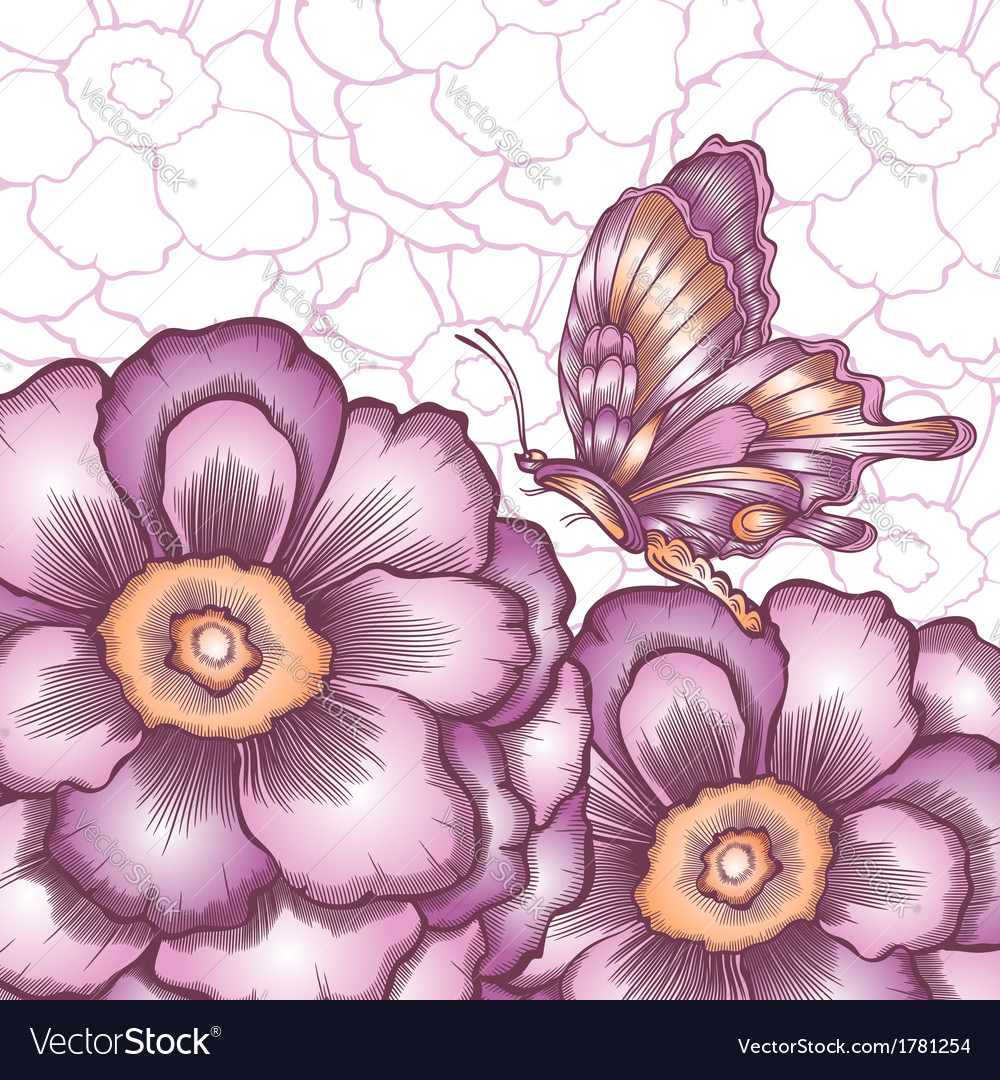 Postcard with decorative flower and butterflies vector | Price: 1 Credit (USD $1)