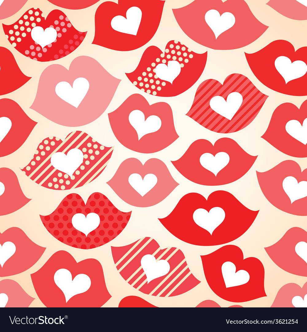 Seamless festive background with lips and hearts vector | Price: 1 Credit (USD $1)