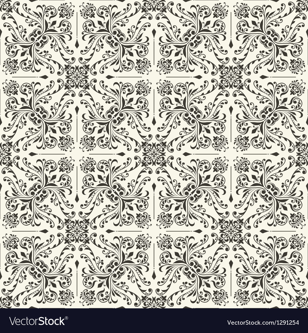 Seamless vintage floral wallpaper vector | Price: 1 Credit (USD $1)