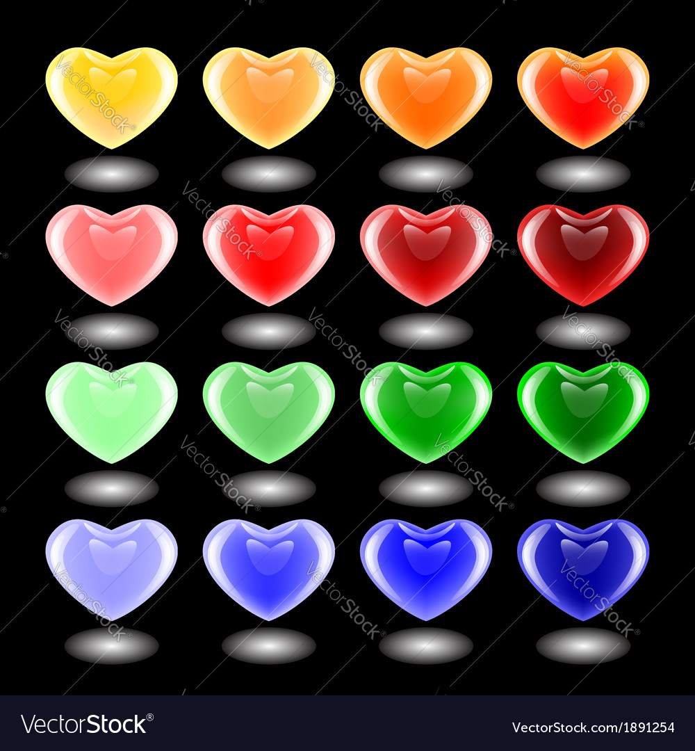 Set of design 3d multicolor heart icons vector | Price: 1 Credit (USD $1)