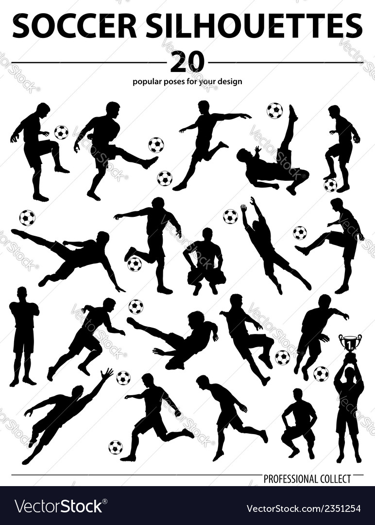 Silhouettes soccer players vector | Price: 1 Credit (USD $1)