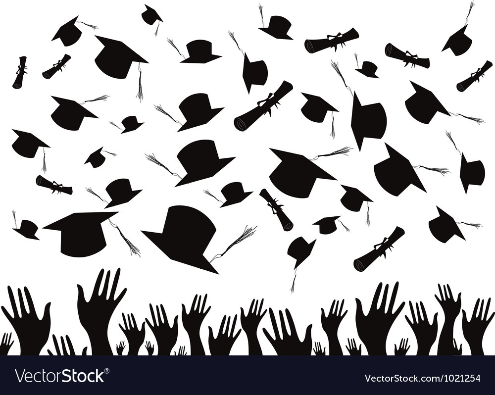 Students graduating and tossing caps vector | Price: 1 Credit (USD $1)