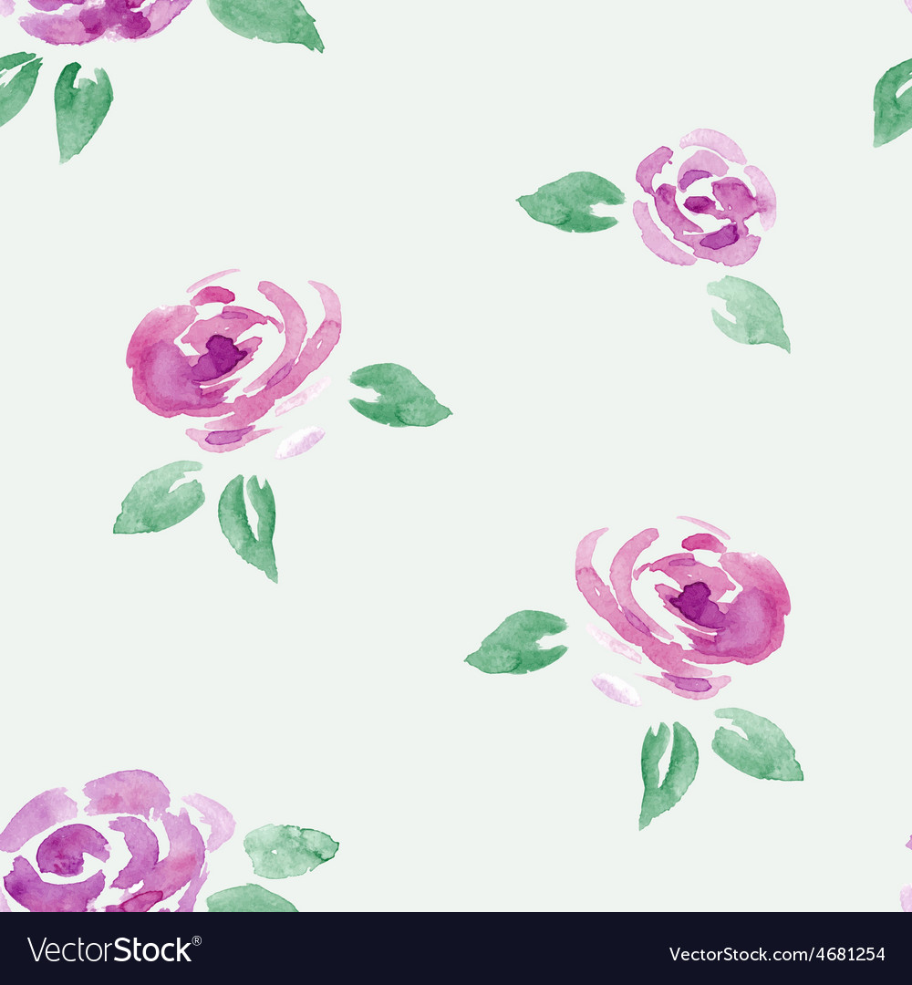 Watercolor roses flowers seamless background vector | Price: 1 Credit (USD $1)
