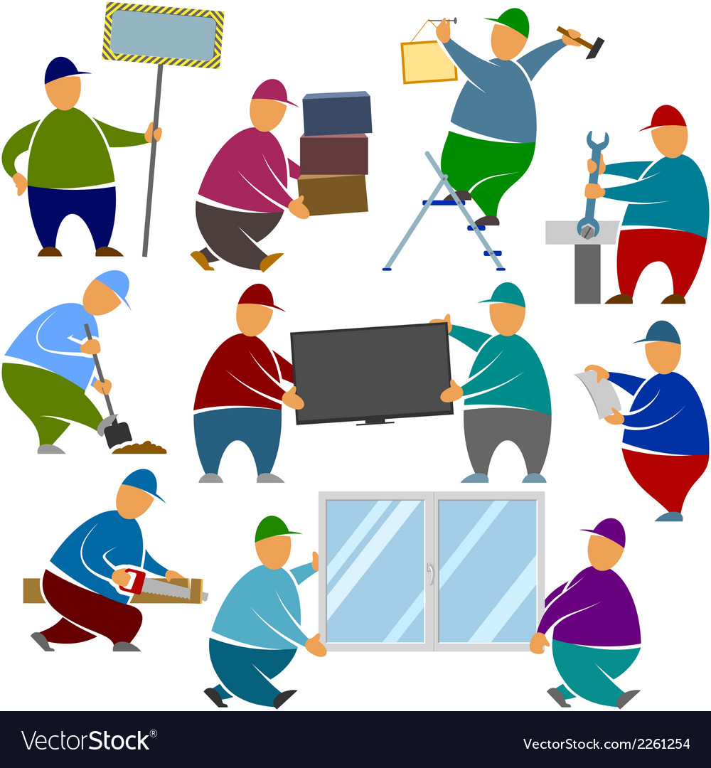 Workers loaders stands objects vector | Price: 1 Credit (USD $1)