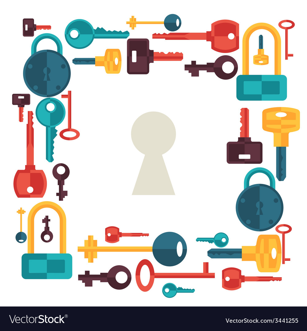 Background design with locks and keys icons vector | Price: 1 Credit (USD $1)