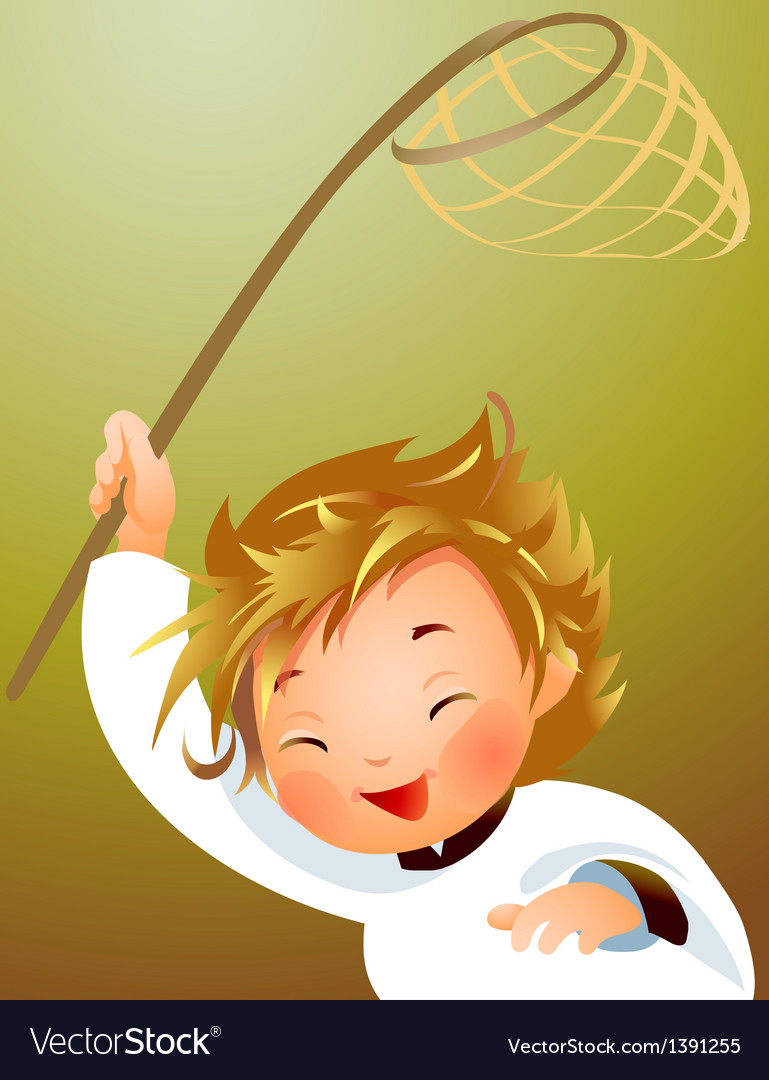 Child holding fishing net vector | Price: 5 Credit (USD $5)
