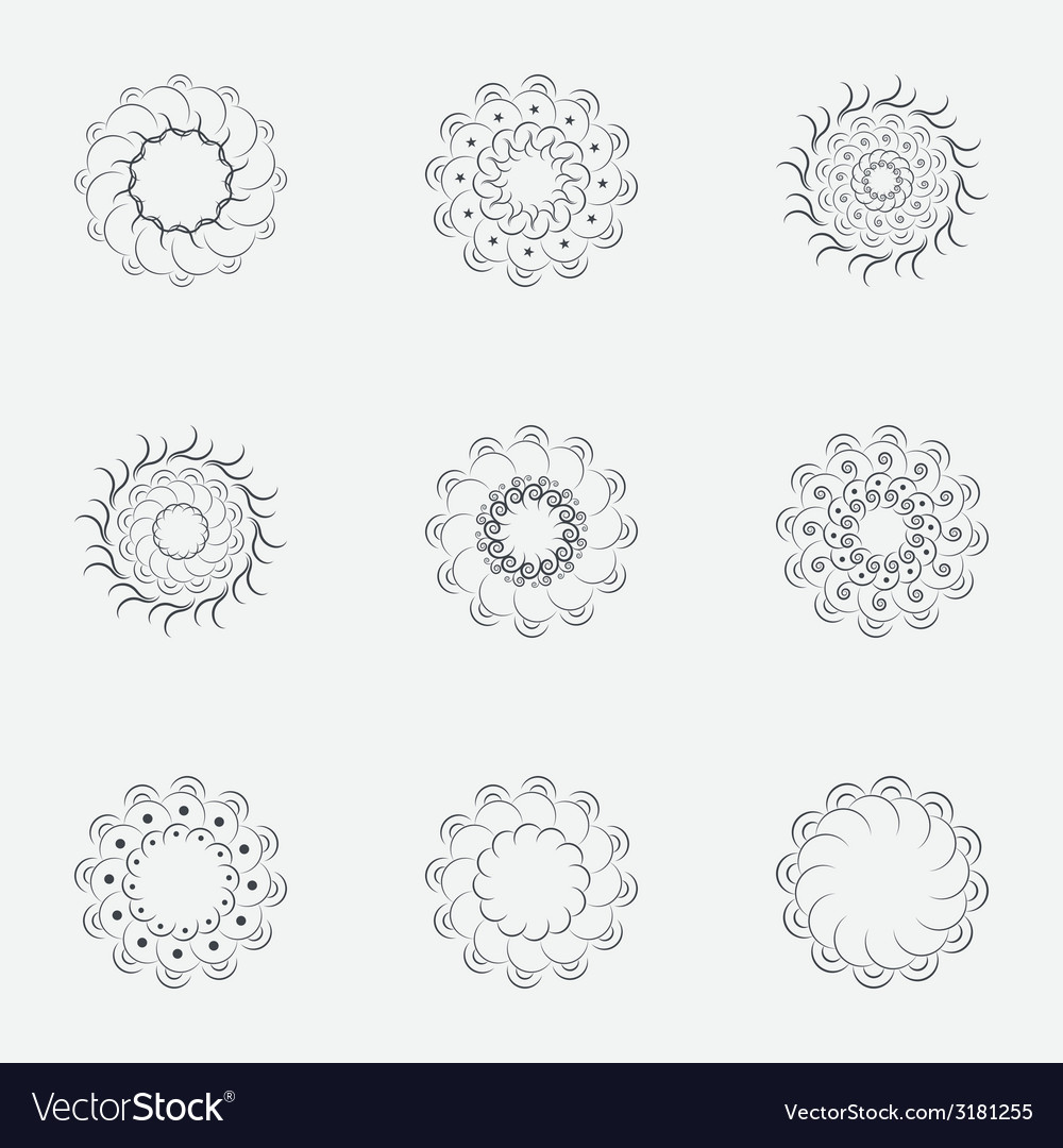 Circle geometric ornaments spirographs set vector   Price: 1 Credit (USD $1)