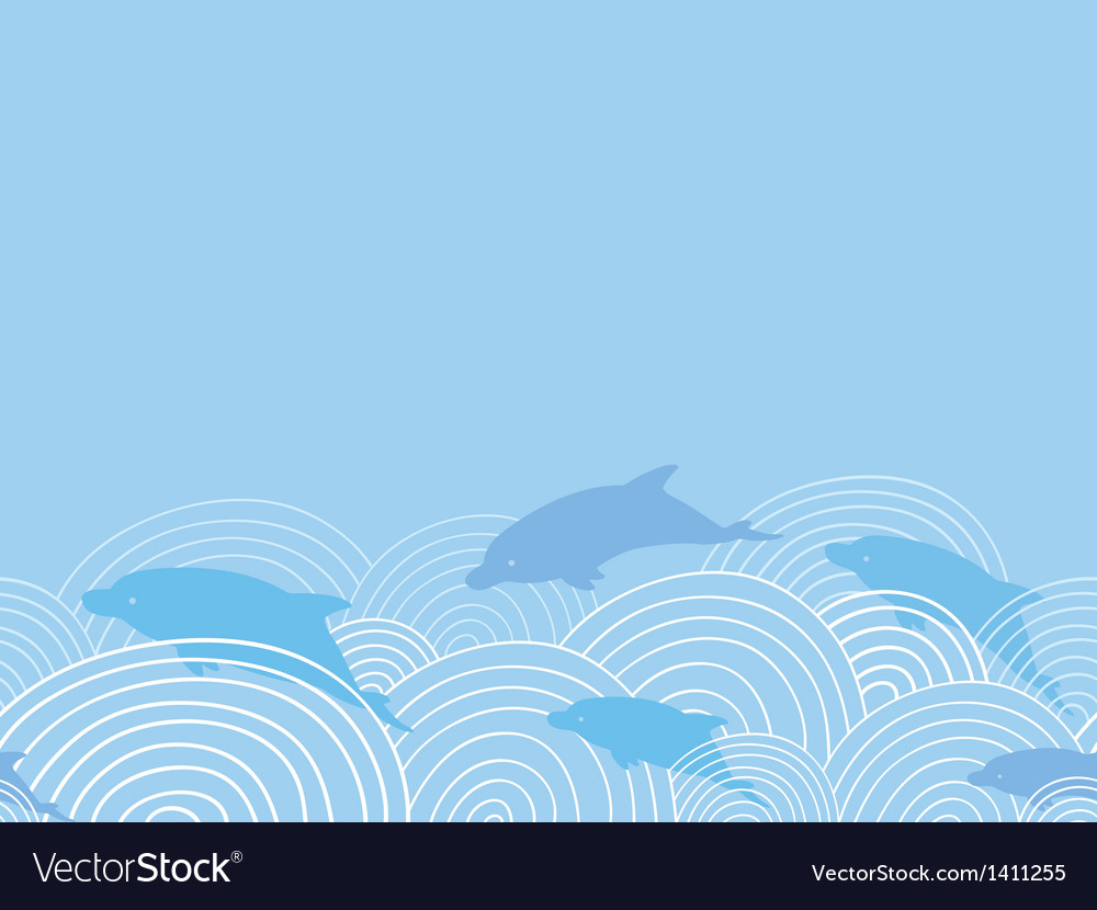 Dolphines among waves horizontal seamless pattern vector | Price: 1 Credit (USD $1)