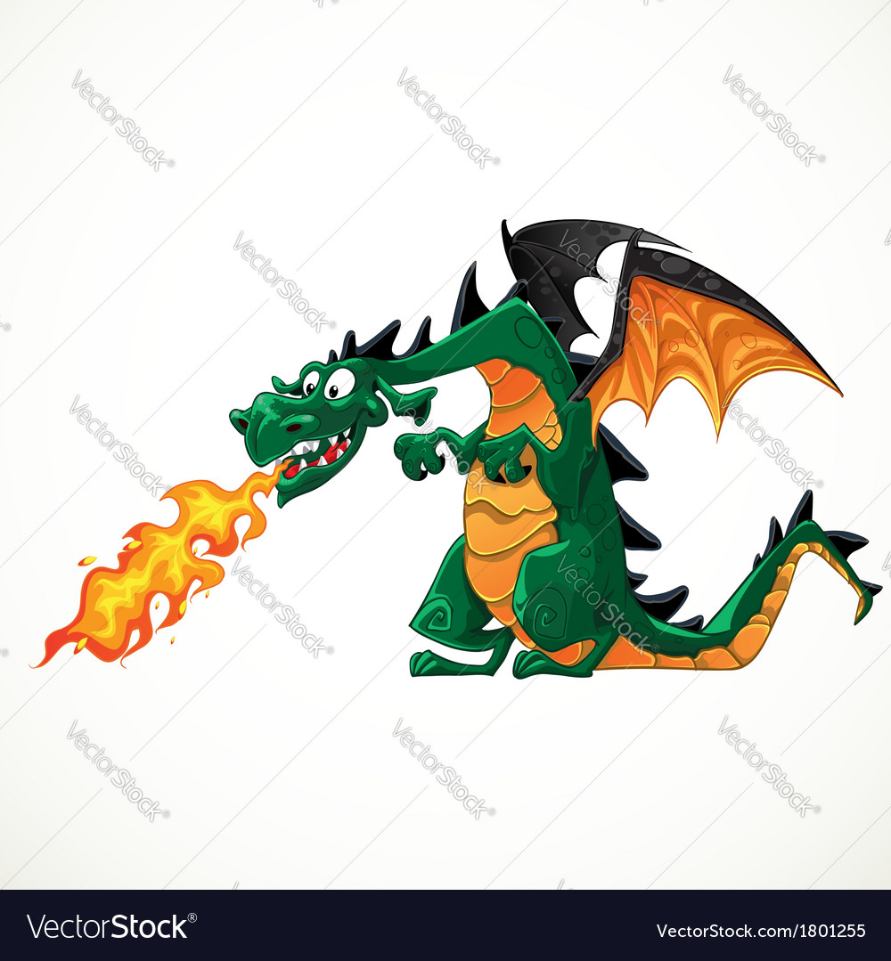 Fabulous magical green with teeth fire-spitting vector | Price: 3 Credit (USD $3)