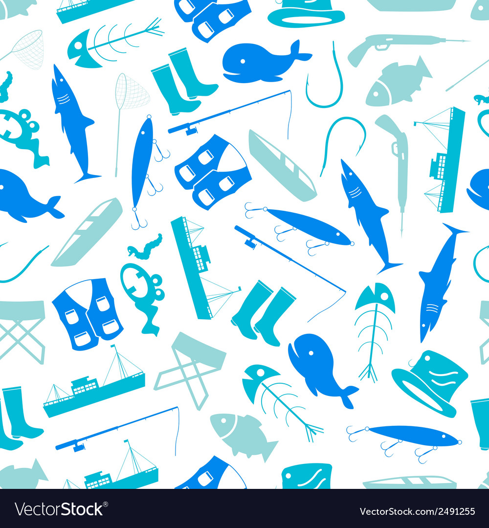Fishing icons blue and white pattern eps10 vector | Price: 1 Credit (USD $1)