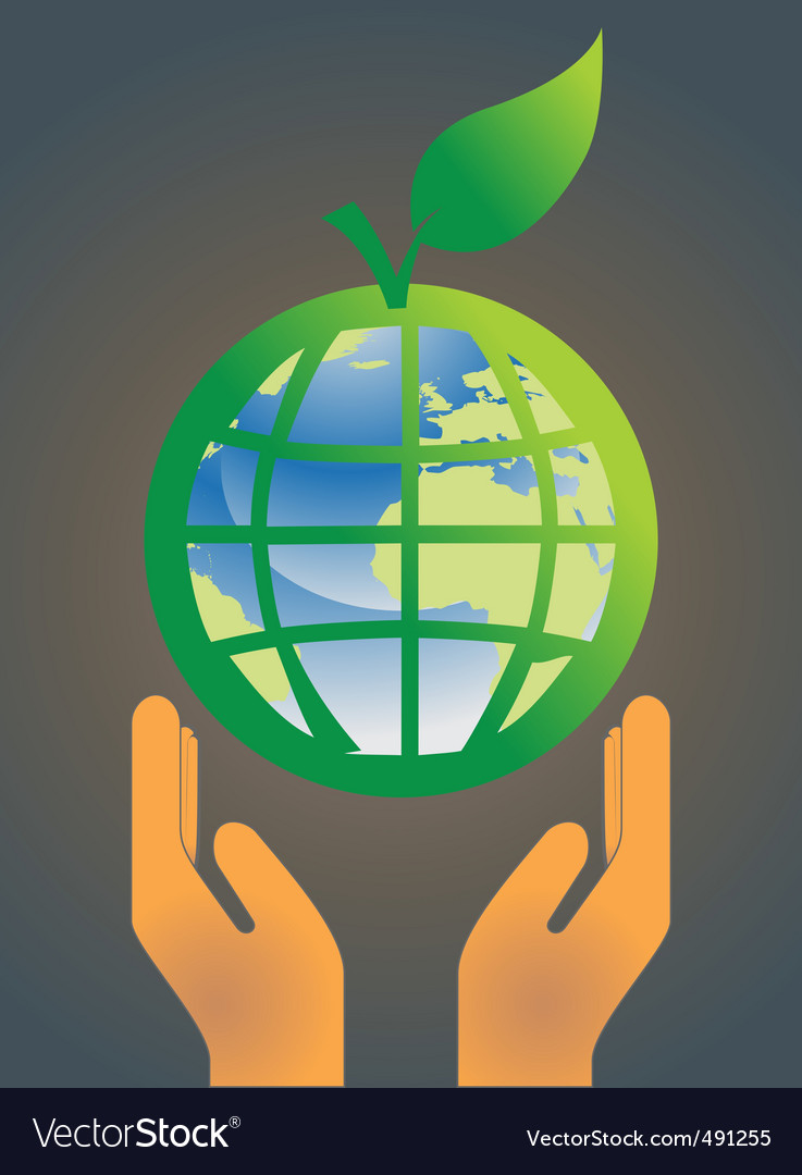 Hand holding earth globe 5 vector | Price: 1 Credit (USD $1)