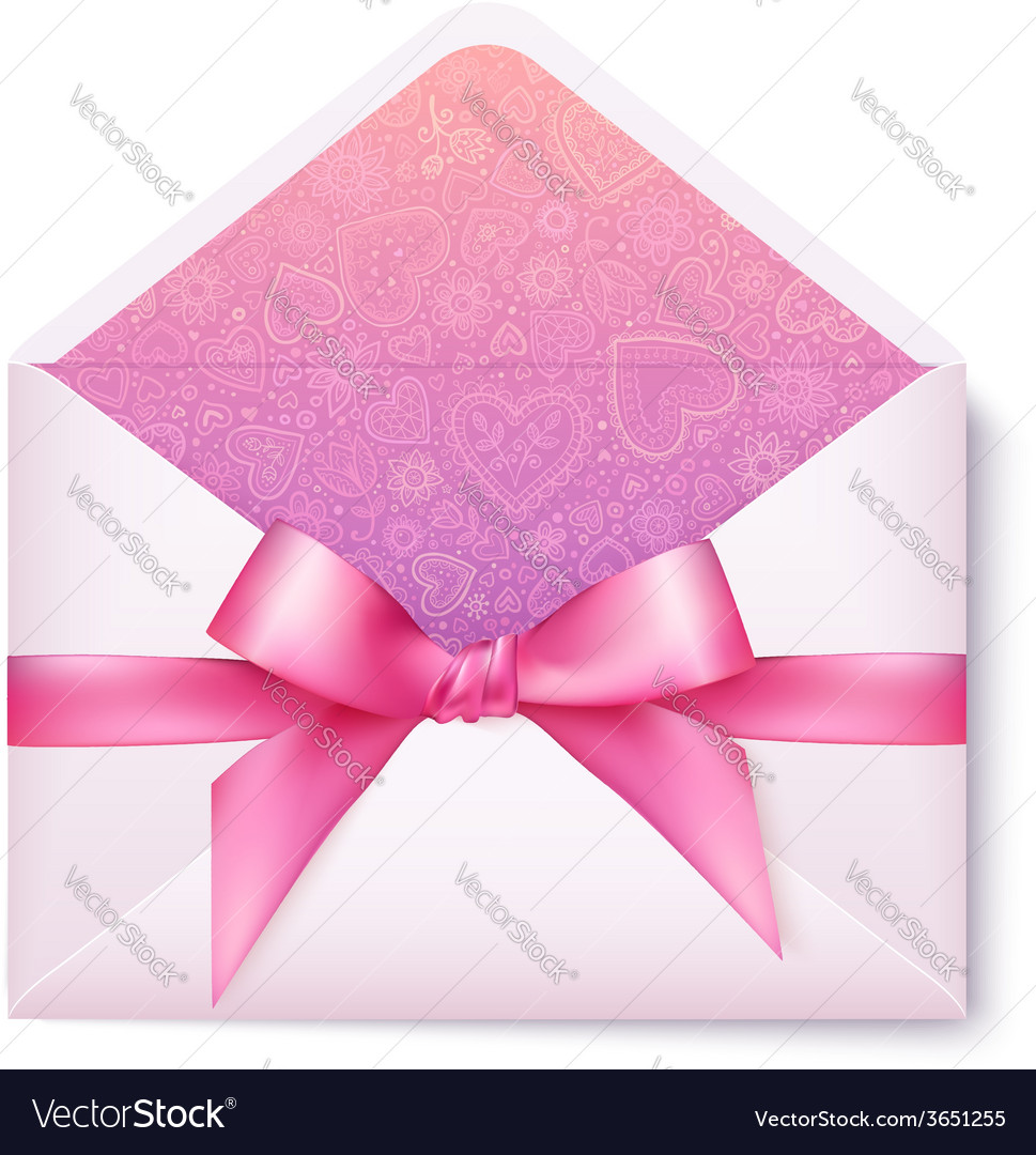 Pink open envelope with pink bow vector | Price: 1 Credit (USD $1)