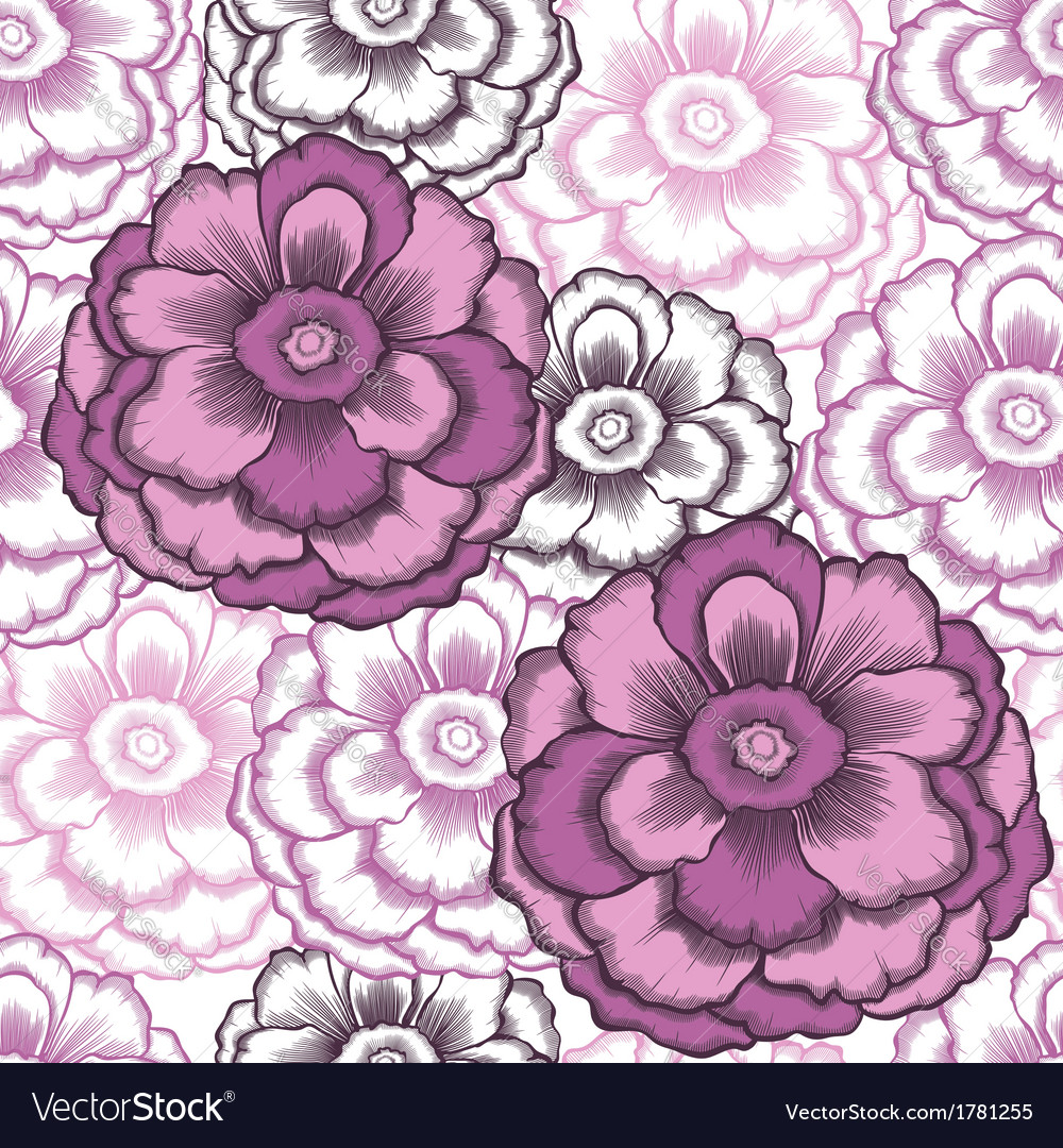 Seamless decorative pattern with peonies vector | Price: 1 Credit (USD $1)