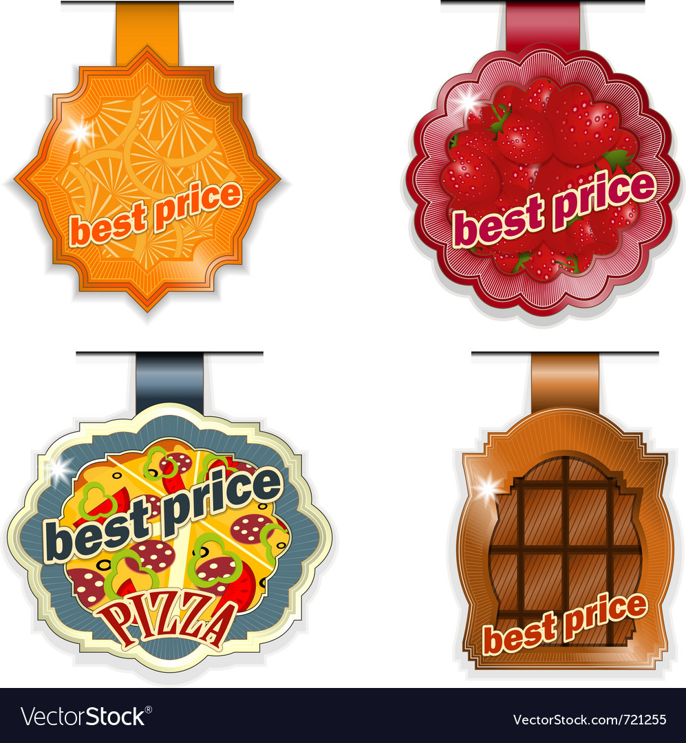 Set - food lables best price on white background vector | Price: 1 Credit (USD $1)