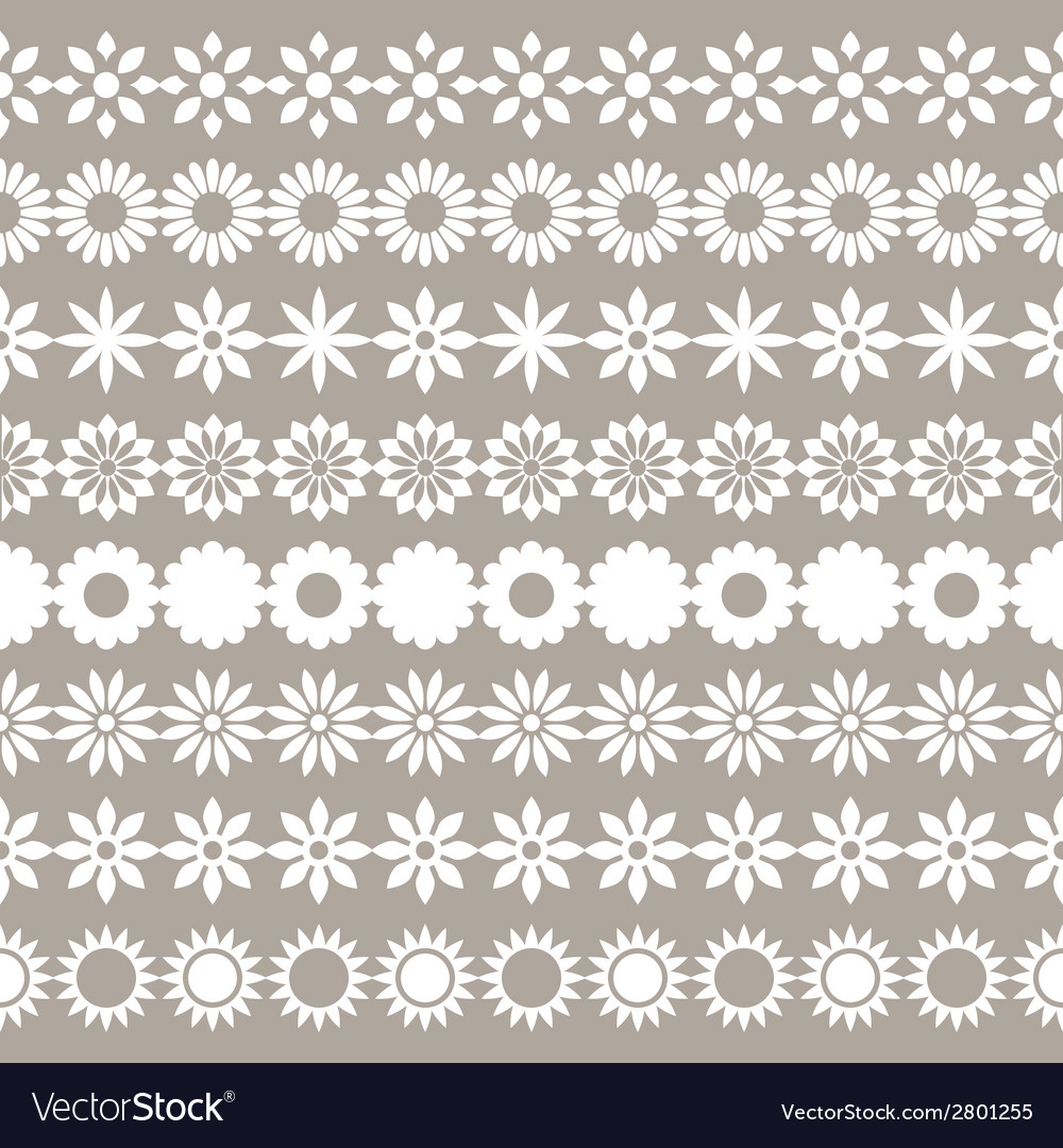 Set of flower borders floral elements vector | Price: 1 Credit (USD $1)