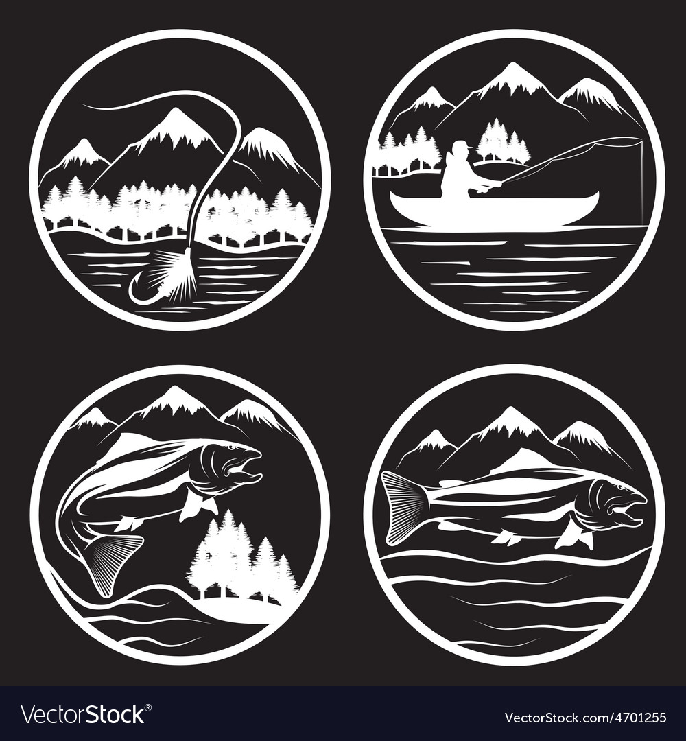 Set of vintage labels with fishing theme vector | Price: 1 Credit (USD $1)