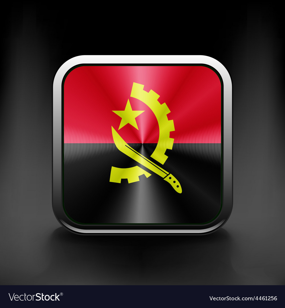 Angola flag national travel icon country symbol vector | Price: 1 Credit (USD $1)