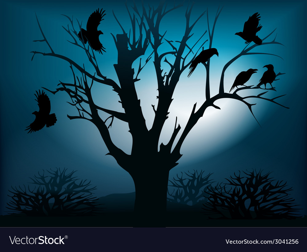 Black ravens on the tree vector | Price: 1 Credit (USD $1)