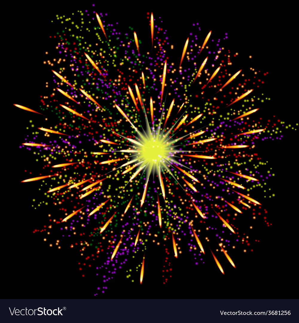 Bright abstract festive fireworks over black vector | Price: 1 Credit (USD $1)