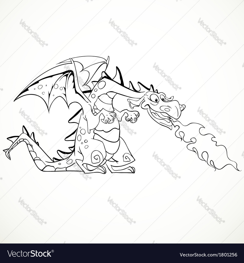 Fabulous magical red fire-spitting dragon black vector | Price: 1 Credit (USD $1)