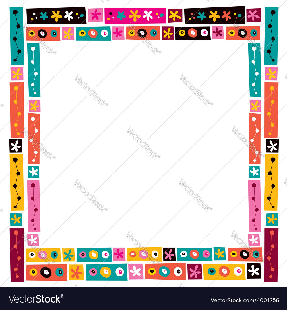 Flowers collage decorative frame border vector | Price: 1 Credit (USD $1)