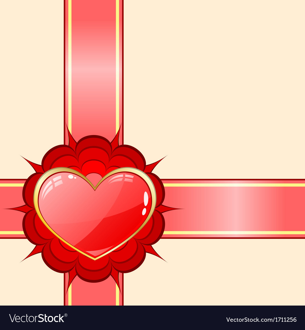 Gift ribbon with red heart vector | Price: 1 Credit (USD $1)