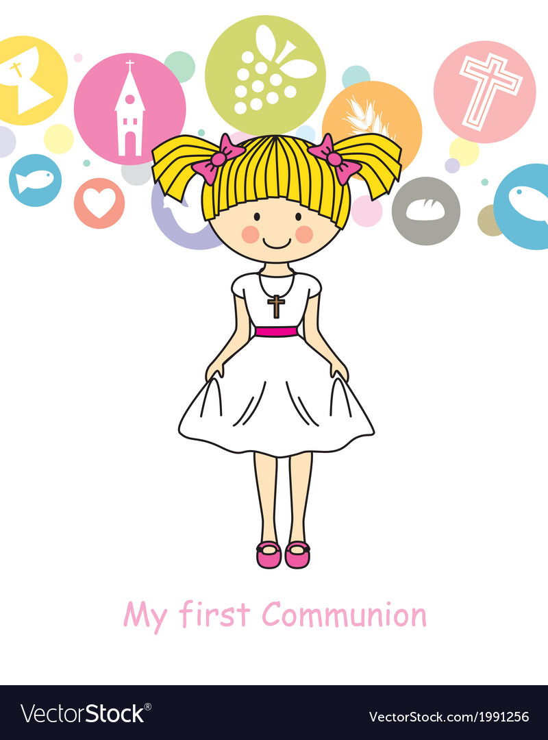 Girl first communion vector | Price: 1 Credit (USD $1)