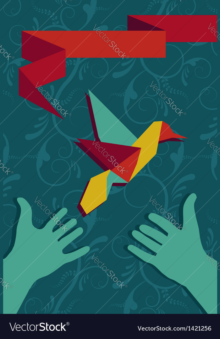 Hand and origami hummingbird vector | Price: 1 Credit (USD $1)