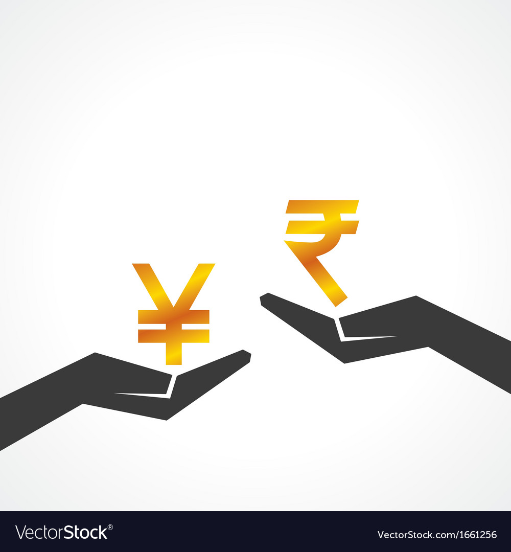 Hand hold yen and rupee symbol to compare vector | Price: 1 Credit (USD $1)