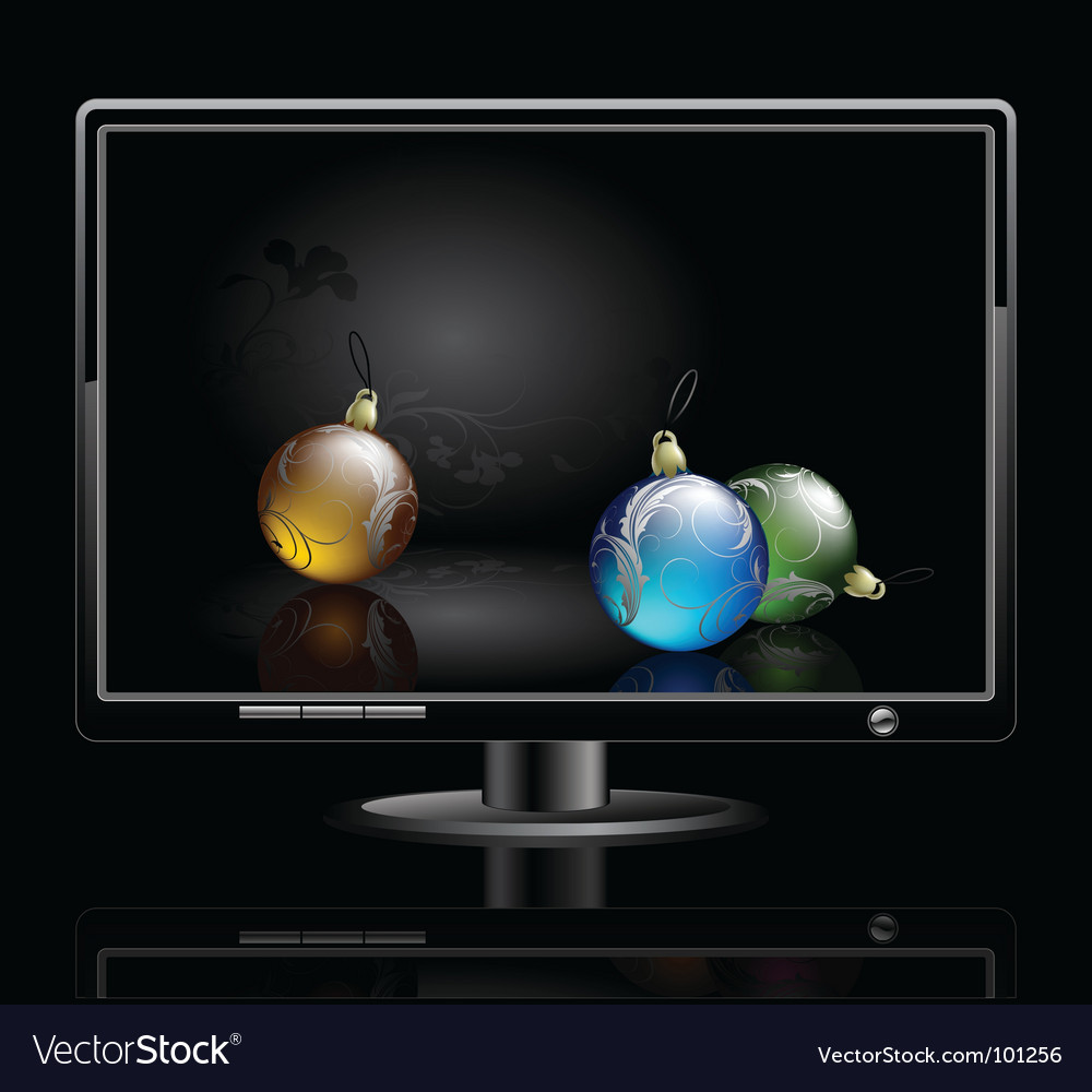 Lcd panel with christmas baubles vector | Price: 1 Credit (USD $1)