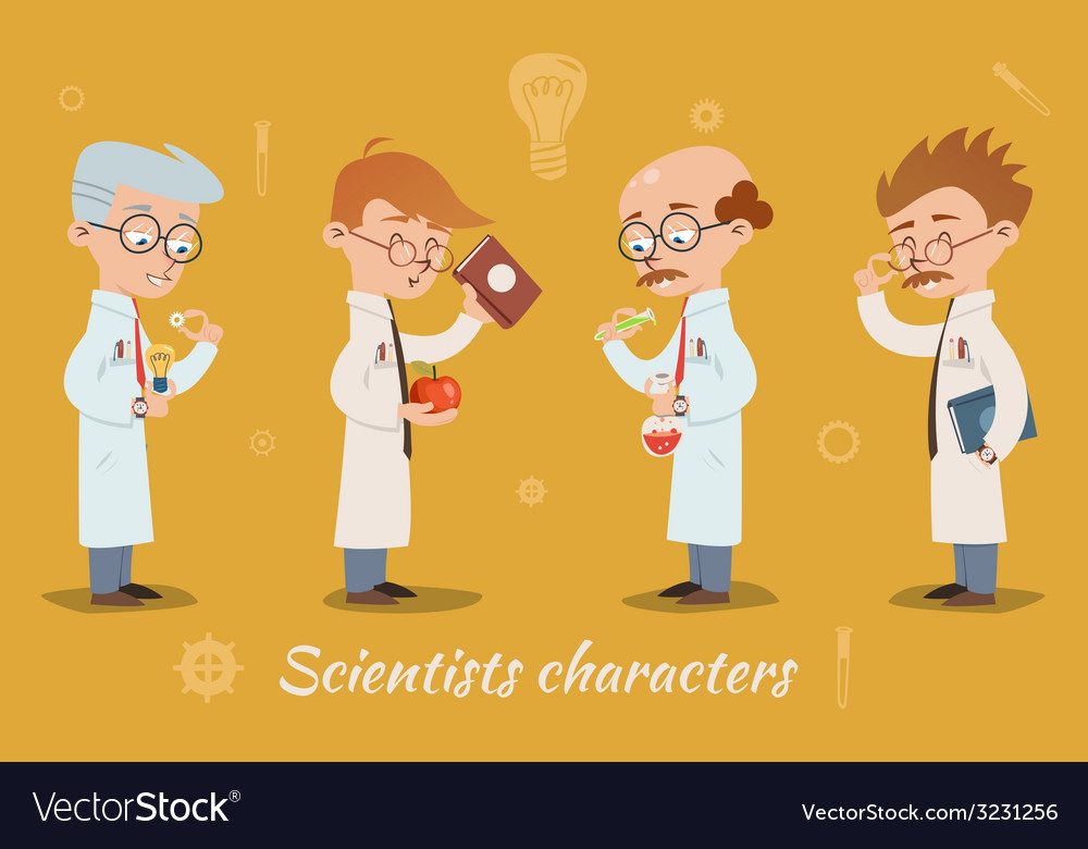 Set of four scientist characters vector | Price: 1 Credit (USD $1)