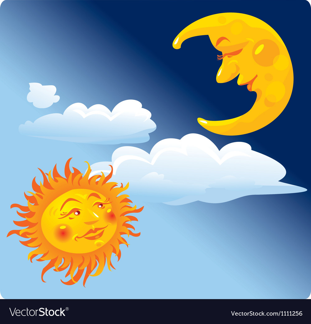 Sun and moon on sky background vector | Price: 1 Credit (USD $1)