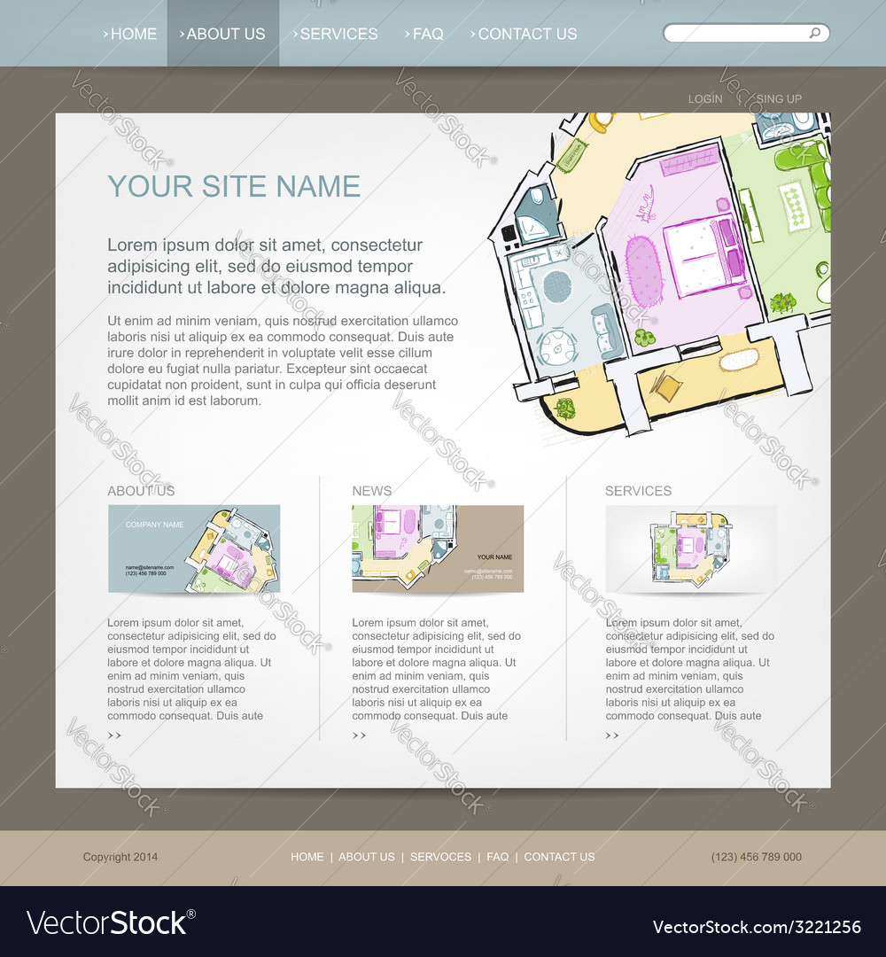 Website design template for building company vector | Price: 1 Credit (USD $1)