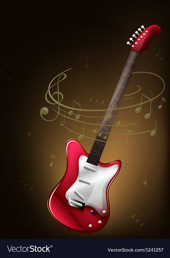 A red guitar with musical notes vector | Price: 1 Credit (USD $1)