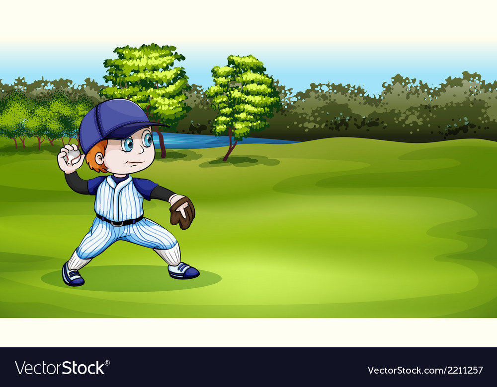 A young baseball player at the field near the vector | Price: 3 Credit (USD $3)