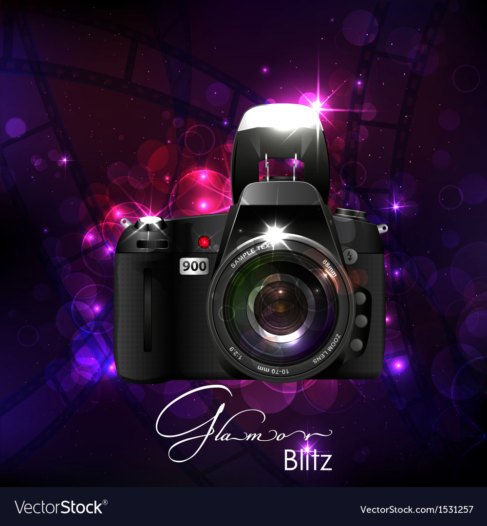 Camera in glamour background vector | Price: 1 Credit (USD $1)