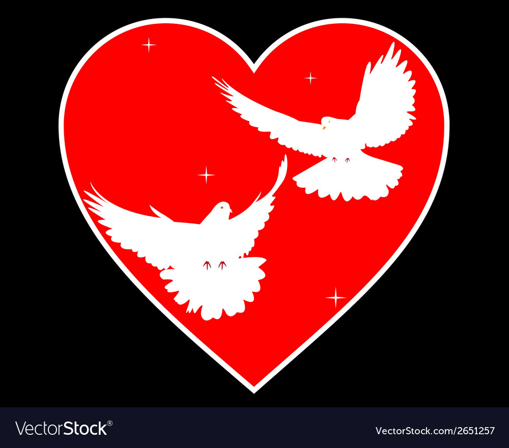Doves in heart vector | Price: 1 Credit (USD $1)