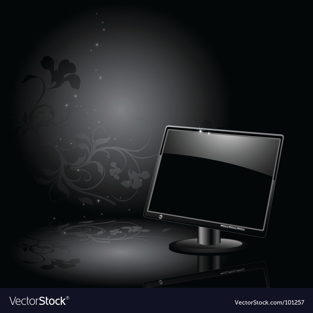 Lcd panel with floral background vector | Price: 1 Credit (USD $1)
