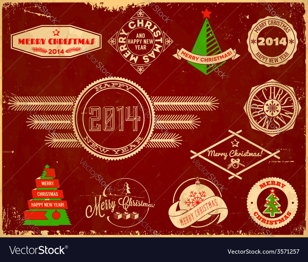 Set of christmas vintage labels vector | Price: 1 Credit (USD $1)